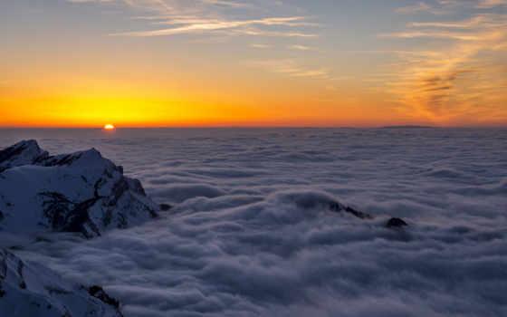 range, гора, облака