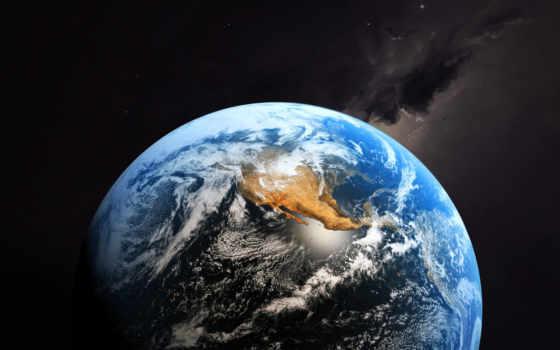 planet, land, cosmos, earth, full, полюсов, космоса, планеты, взгляд,