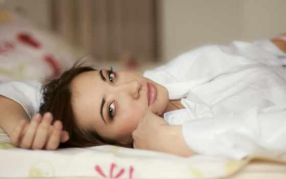 постели, девушка, sweetheart, взгляд, нежность, губы, фотограф,