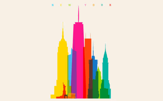 минимализм, город, дома, радуга, шкала, краски, minimalist, york, нью, color,
