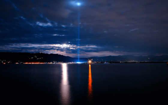 море, ночное, город, моря, свет, lighthouse, небо, совершенно, свой, виды,