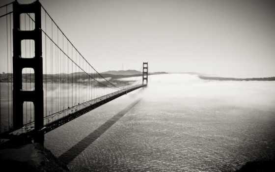 мост, золотые, gate, золотистый, сша, sana, francisco, чёрно,