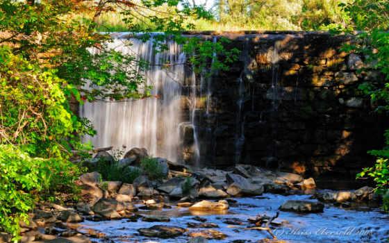 водопад, река, мост, природа, tapety, каменистой, поверхности, deviantart, world,