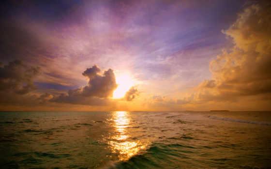 природа, пейзажи -, закат, небо, море, sun, волна, позитивные, oblaka, похожие, бесплатные,
