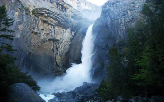 park, водопад, national, yosemite, сша, природа, лес,