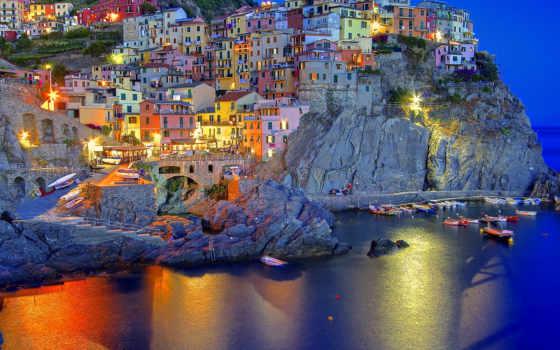 manarola, italian, italia, город, liguria, italy, amalfi, вечер, огни,