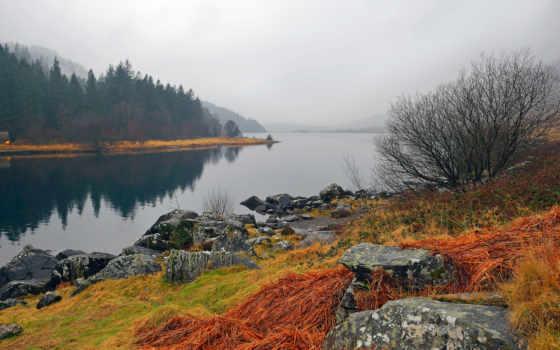 wales, snowdonia, туман, landscape, national, фотообои, park,