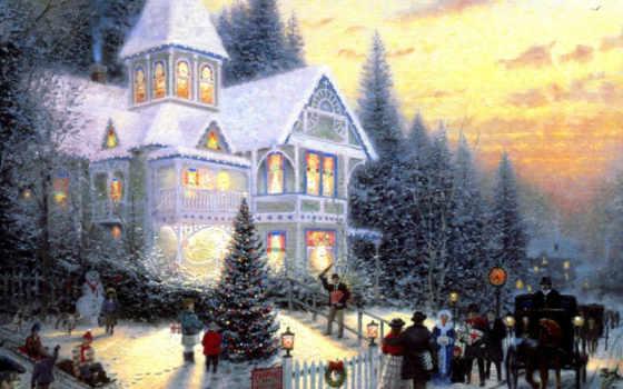 christmas, kinkade, томас