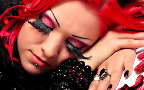 девушка, красные, волосы, волосами, длинными, красными, devushki, ресницами, пирсинг, ресницы,