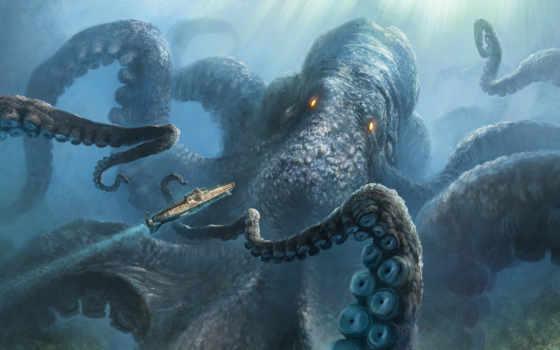 кракен, море, карибского, squid, моря, гигант, unleashed, пираты, monster,