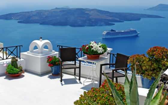 море, взгляд, балкон, фотообои, greece, santorinit, терасса