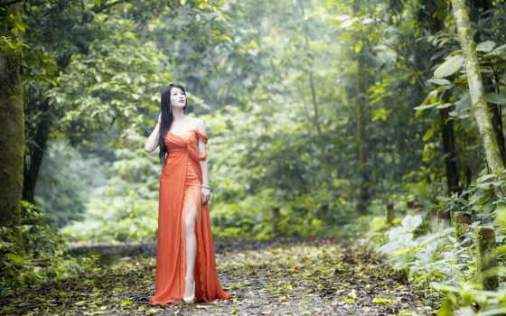 прогулка, девушка, платье, красивый, женщина, лес, park