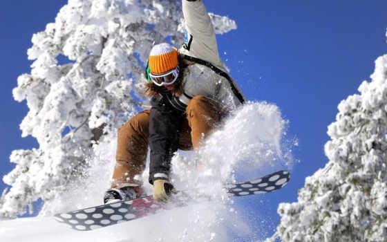 сноуборд, снег, девушка, небо, просмотреть,