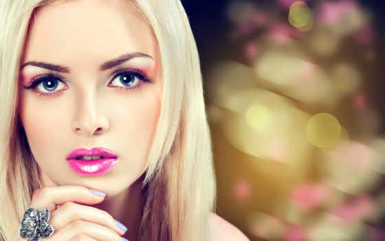 девушка, клипарт, макияжем, девушки, with, длинными, векторный, волосами, гламурным, hair,