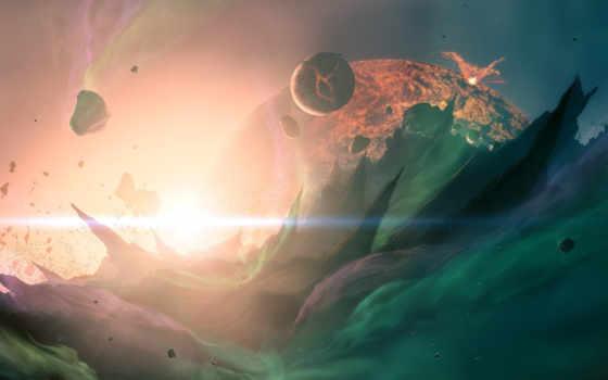 cosmos, bang, планеты, огонь, космосе, cosmic, трещины, planet,