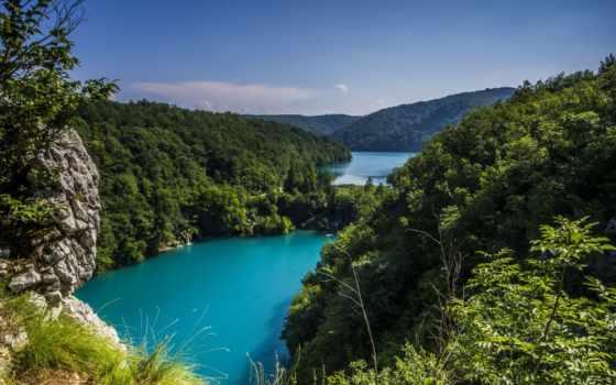 природа, горы, landscape, хорватии, моря, море, плитвицкие, природы, park, озера, national,