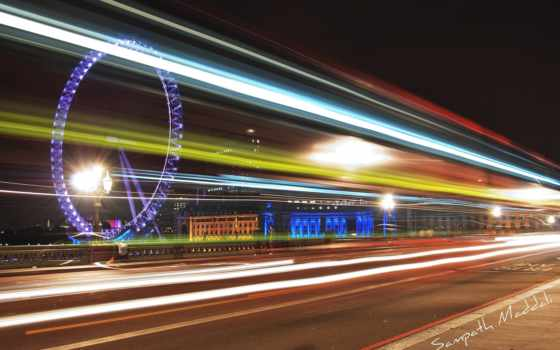 колесо, обозрения, ночь, london, огни, город,