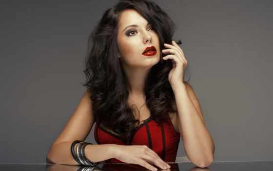 макияж, губы, красные, девушка, волосы, губ, помаде, permanent, губами, красное, платье,