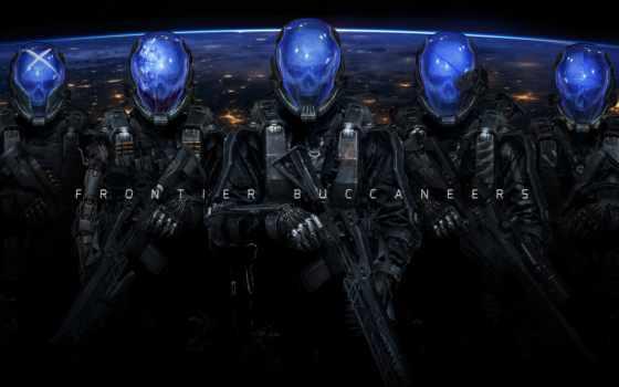 фантастика, cyborg, оружие, cyberpunk, военные, скафандр, черепа, шлем, art, солдат,