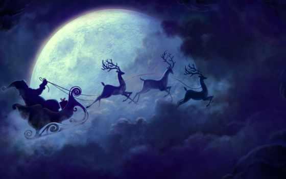 год, new, санта, sledge, лань, луна, елка, клаус, christmas