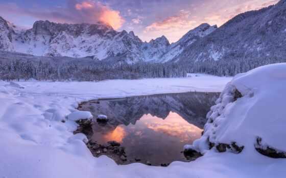 озеро, winter, fusine, снег, фон, природа, гора, mobile, customize