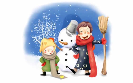 нарисованные, ведро, дети, зима, снеговик, шарфы, веселье,  метла