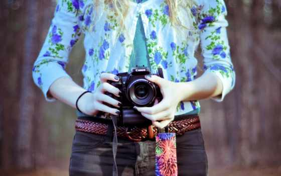 девушка, фотоаппарат, настроение