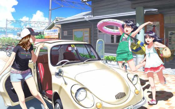 anime, summer, машина