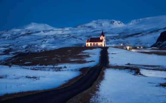 исландия, снег, горы, церквушка, дорога, noch, svet, холмы,