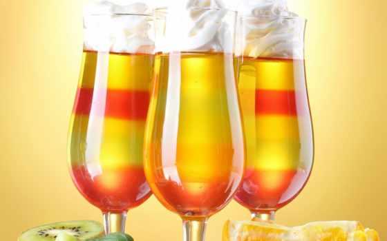 коктейли, фрукты, бокалы