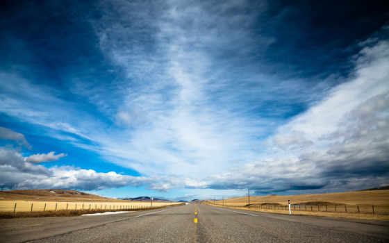 дорога, oblaka, небо