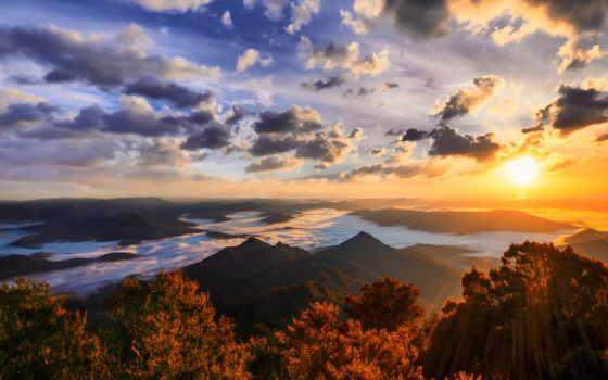 природа, горы, sun