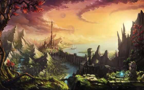 fantasy, пейзажи -, сказочная, country, landscape, картинку, фантазий,