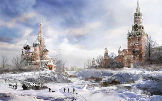winter, москва, москве, площадь, красная, ядерная, город, зимой, москвы,