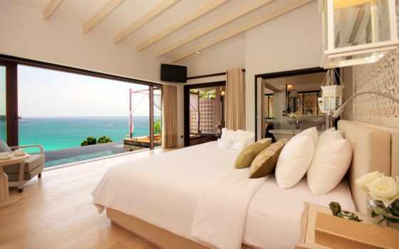 ocean, widokiem, dom, sypialnia, пл,