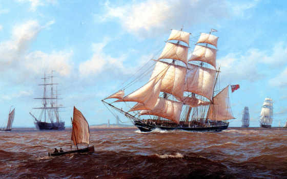 море, sailboat, корабли, ipad, корабль, картинка, живопись, waves, oblaka, лодка, retina,