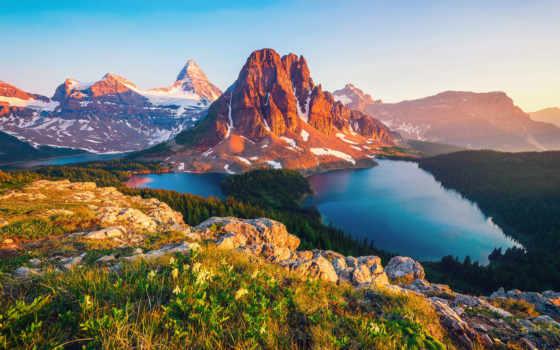 озеро, columbia, канада, гора, british, дня, goodfon, mountains,