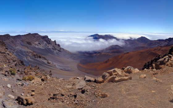 горы, природа, халеакала, crater, красивые, широкоформатные, création,