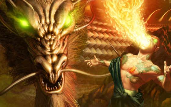 fantasy, дракон, красивые, качества, высокого,
