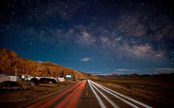 дорога, ночь, ночная, высокого, природа,