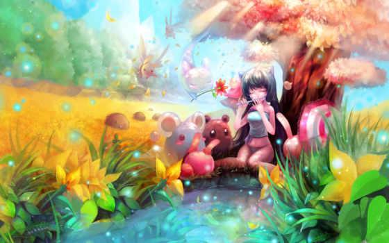 anime, радужные, разноцветные,
