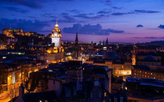 landscape, город, города, эдинбург, scotia, вечернего,