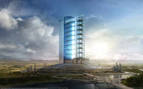 architecture, building, небо, свет, колонны, будущего, города,