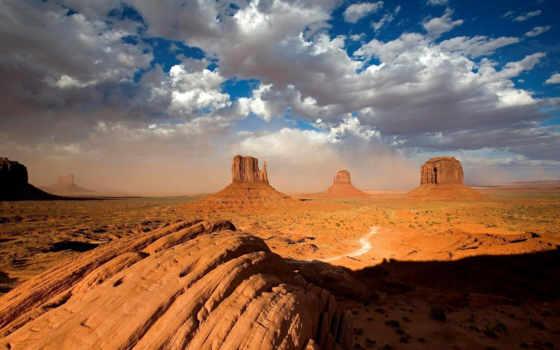 горы, природа, облака, дорога, пустыня, canyon, vast, пустынных, сооружения, архитектурные, прерий, mesas, мелкий, кустарник,