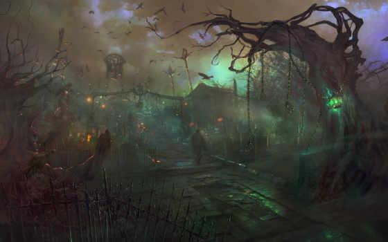 кладбище, человек, knights, dragon, арт, птицы, вороны, картинку,