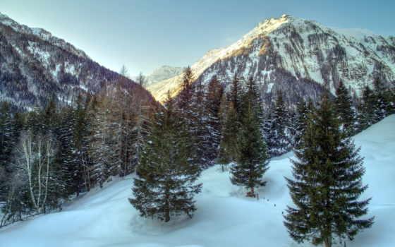 альпы, природа, горы, пейзажи -, winter, austrian, дек, trees, лес,