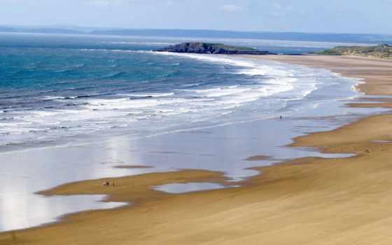 playa, olas, arenosa