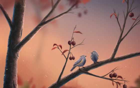 play, branch, ягоды, птицы, sylar, art, sign,