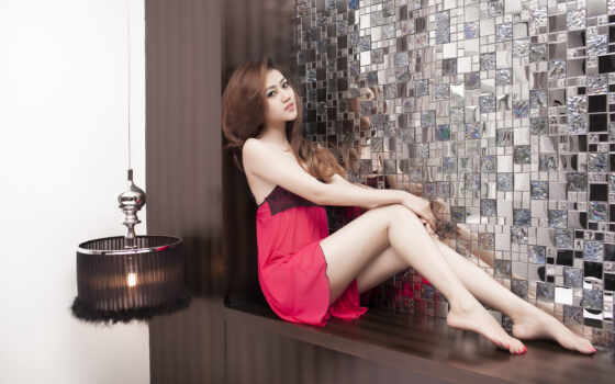 leg, девушка, платье, волосы, красавица, женщина, модель, brunette, long, смотреть, розовый