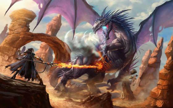 битвы, драконы, morina, огонь, магия, посохи, воители, warhammer, плащ,
